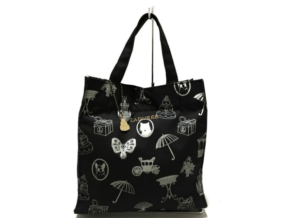 LADUREE(ラデュレ) トートバッグ美品  黒×ライトグレー×ベージュ ナイロン