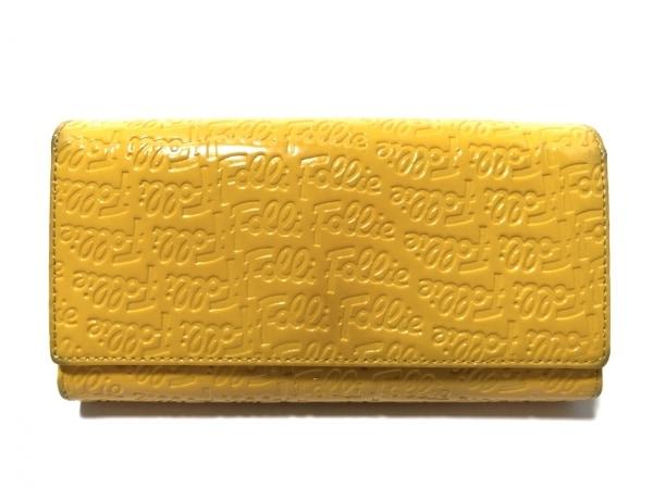 FolliFollie(フォリフォリ) 長財布 イエロー 型押し加工 エナメル(レザー)