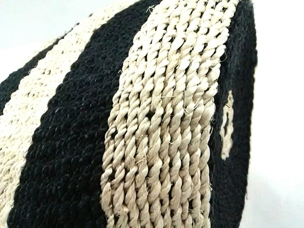 HASHIBAMI(ハシバミ) ハンドバッグ美品  アイボリー×黒 ボーダー 麻×レザー