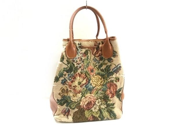 パオラデルンゴ トートバッグ ベージュ×マルチ 花柄 キャンバス×レザー