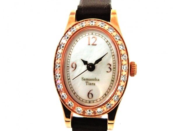 サマンサ ティアラ 腕時計美品  - - レディース ラインストーンベゼル アイボリー