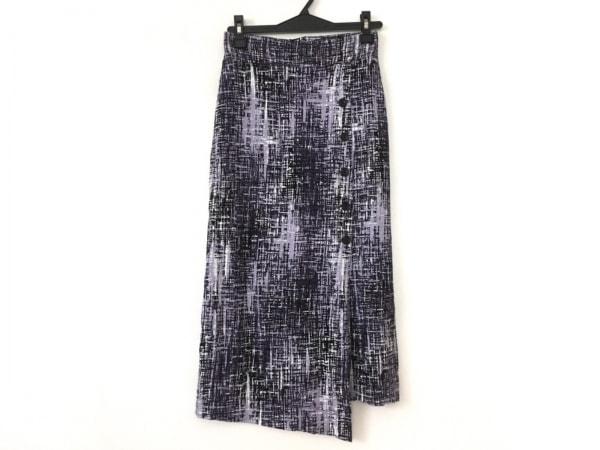 three dots(スリードッツ) スカート サイズXS レディース美品  パープル×白×黒