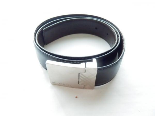 バーバリープローサム ベルト 105/42 黒×シルバー レザー×金属素材