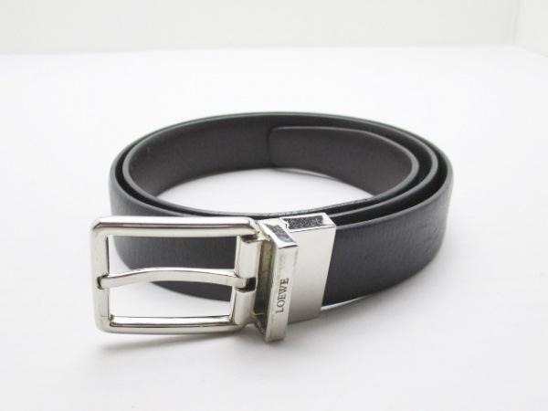 LOEWE(ロエベ) ベルト 黒×シルバー レザー×金属素材