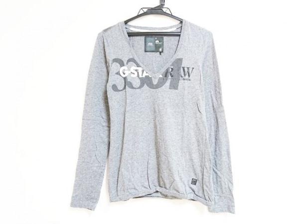ジースターロゥ 長袖Tシャツ サイズS レディース グレー×ダークグレー×白
