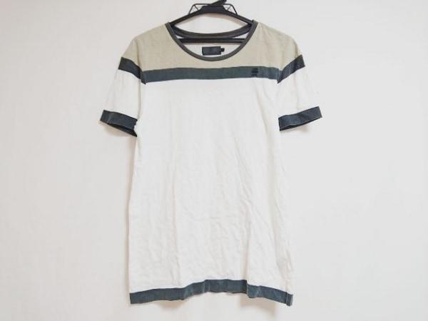 ジースターロゥ 半袖Tシャツ サイズM レディース 白×グレー×ライトグレー