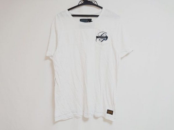 G-STAR RAW(ジースターロゥ) 半袖Tシャツ サイズL レディース 白×ダークグレー×黒
