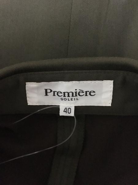 プルミエール スカートスーツ サイズ40 M レディース カーキ×マルチ SOLEIL