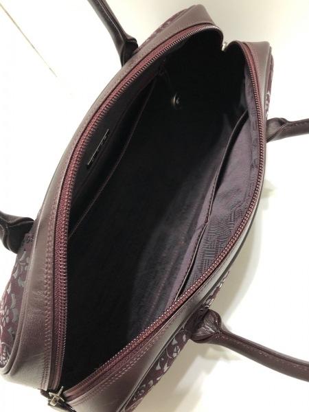 印傳屋(インデンヤ) ハンドバッグ ボルドー ヌバック×漆×レザー