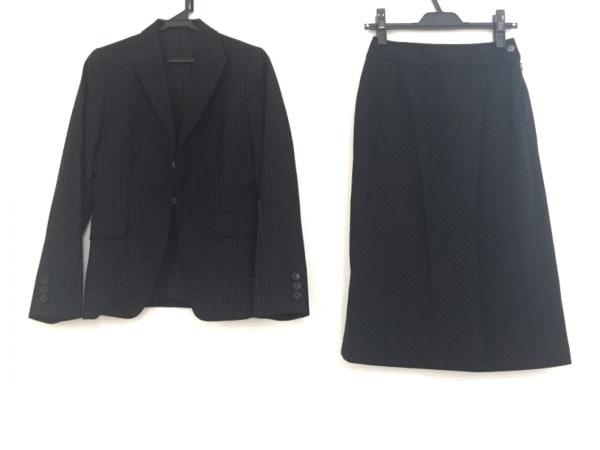 COMME CA DU MODE(コムサデモード) スカートスーツ サイズS レディース 黒 ストライプ