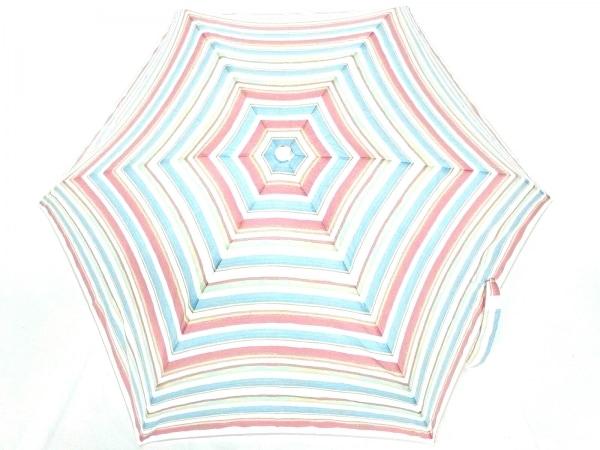 アフタヌーンティー 折りたたみ傘美品  アイボリー×ピンク×マルチ 化学繊維