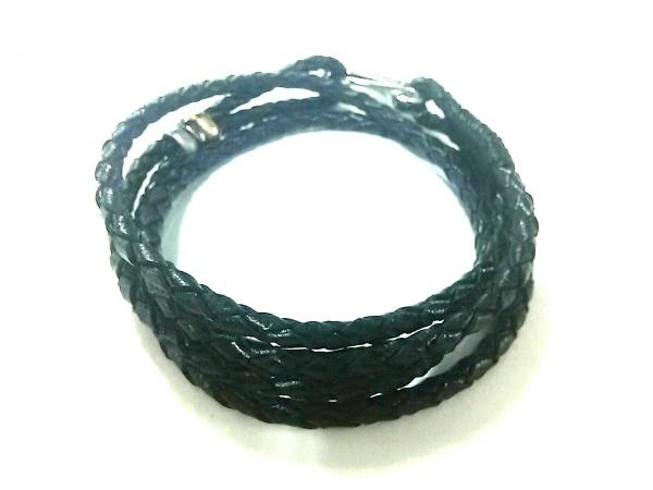 PaulSmith(ポールスミス) ブレスレット美品  レザー×金属素材 黒×シルバー 編み込み