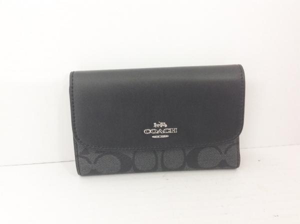 COACH(コーチ) 2つ折り財布 シグネチャー柄 黒×グレー レザー×PVC(塩化ビニール)