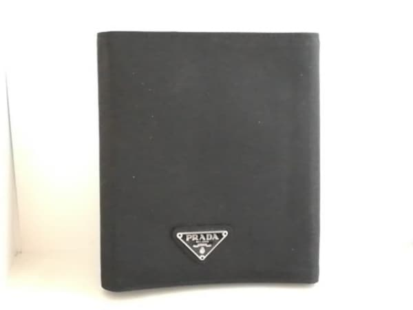 PRADA(プラダ) ブックカバー - 黒 ナイロン×レザー