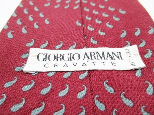 GIORGIOARMANI(ジョルジオアルマーニ) ネクタイ メンズ美品  ボルドー×ライトブルー