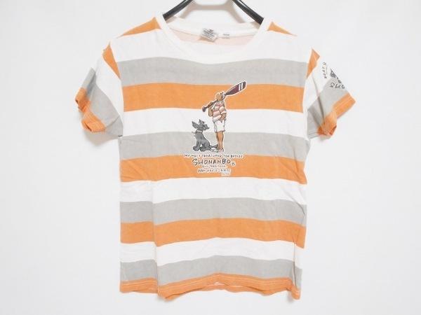 ショーナンデューク 半袖Tシャツ レディース 白×ライトグレー×オレンジ ボーダー