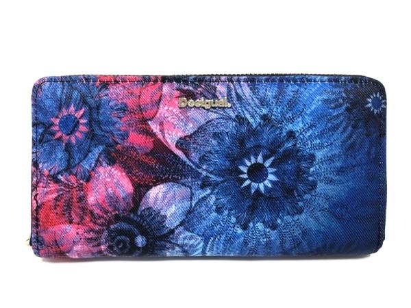 デシグアル 長財布美品  ブルー×ピンク×レッド 花柄/ラウンドファスナー 化学繊維