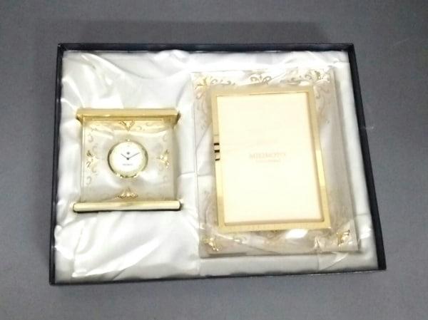 mikimoto(ミキモト) 小物美品  クリア×ゴールド 置時計(動作確認できず)/写真立て