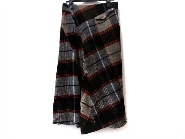 Y's(ワイズ) ロングスカート レディース美品  グレー×黒×マルチ チェック柄