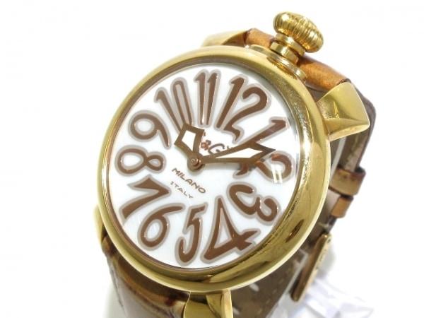 GAGA MILANO(ガガミラノ) 腕時計 マヌアーレ40 J27548 ユニセックス 革ベルト 白