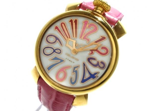 GAGA MILANO(ガガミラノ) 腕時計 マヌアーレ40 J5021 メンズ 革ベルト 白