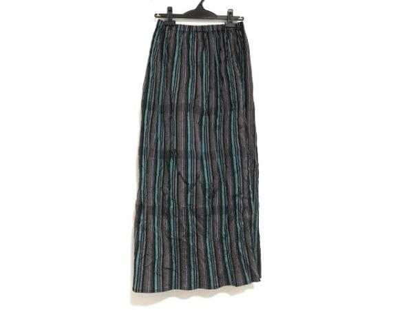 イッセイミヤケ ロングスカート サイズ2 M レディース美品  黒×マルチ ストライプ