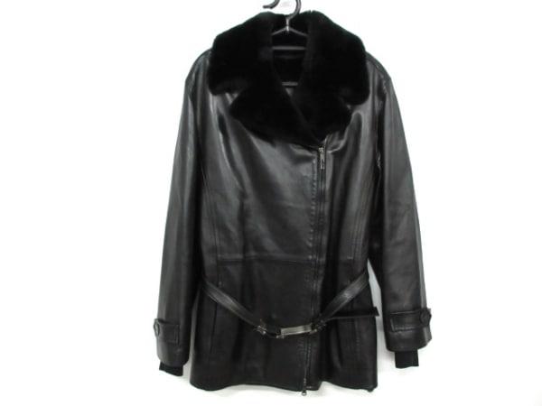 GUCCI(グッチ) コート サイズ40 M レディース 黒 冬物/ラムレザー/ファー