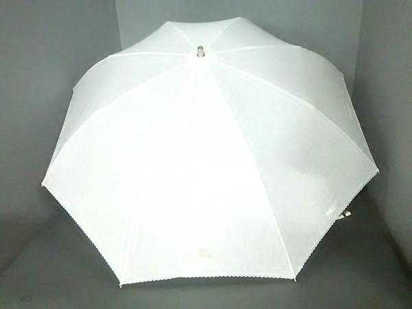 Burberry(バーバリー) 日傘美品  白 折りたたみ傘 コットン