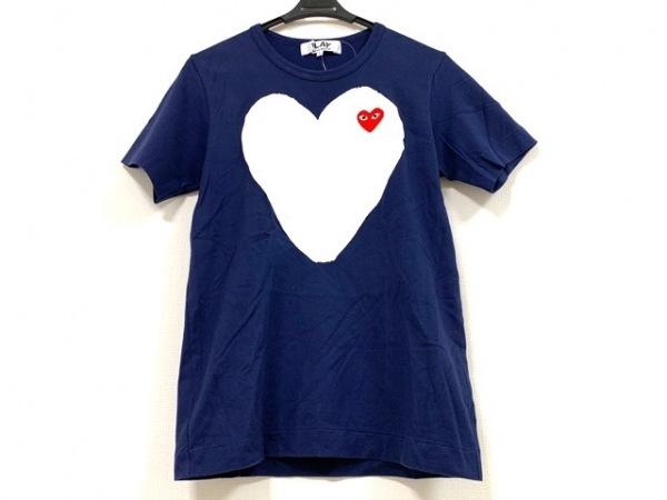 プレイコムデギャルソン 半袖Tシャツ サイズL レディース ネイビー×白×レッド