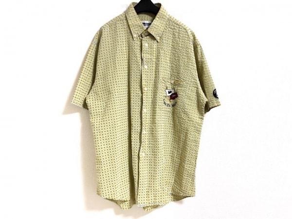 SINACOVA(シナコバ) 半袖シャツ サイズL メンズ イエロー×ライトブルー