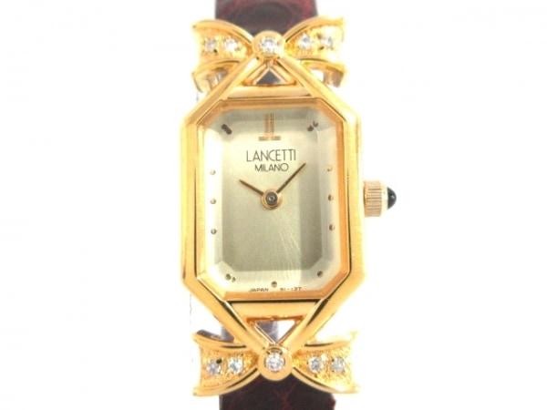 ランチェッティ 腕時計 J505E5-40 レディース 10Pダイヤ/型押し革ベルト/リボン