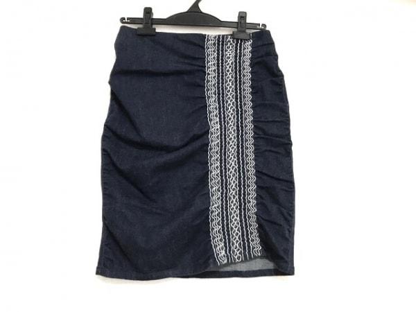 ヴィヴィアンタム スカート サイズ0 XS レディース美品  ネイビー×白 デニム/刺繍