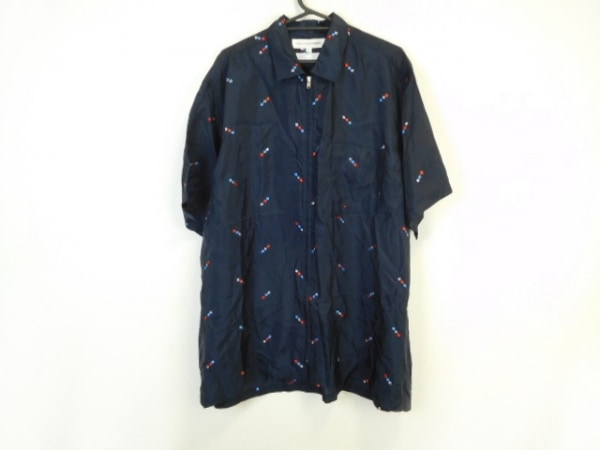 コムデギャルソンシャツ 半袖シャツ サイズM メンズ 黒×レッド×マルチ