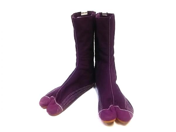 SOU・SOU(ソウソウ) 靴 24.0 レディース パープル×白 足袋 コットン
