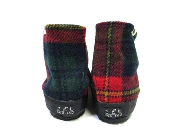 SOU・SOU(ソウソウ) 靴 21.0 レディース 黒×レッド×グリーン 足袋 天然繊維