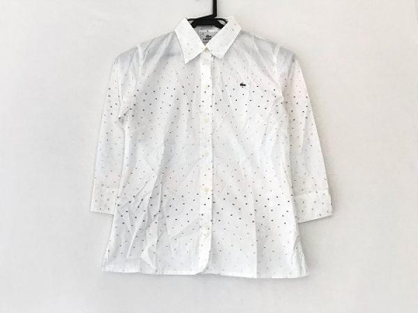 ラコステ 長袖シャツブラウス サイズ40 M レディース美品  白×オレンジ×マルチ