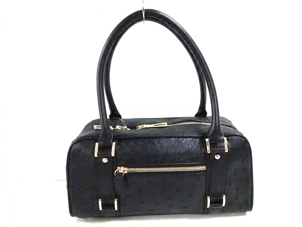 Falchi New York(ファルチ ニューヨーク) ハンドバッグ美品  黒 オーストリッチ