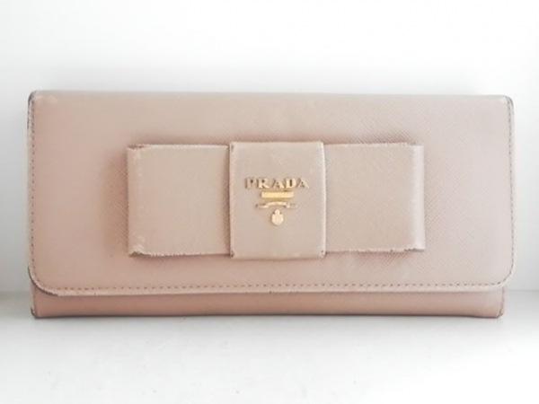 PRADA(プラダ) 長財布 - ピンクベージュ リボン レザー