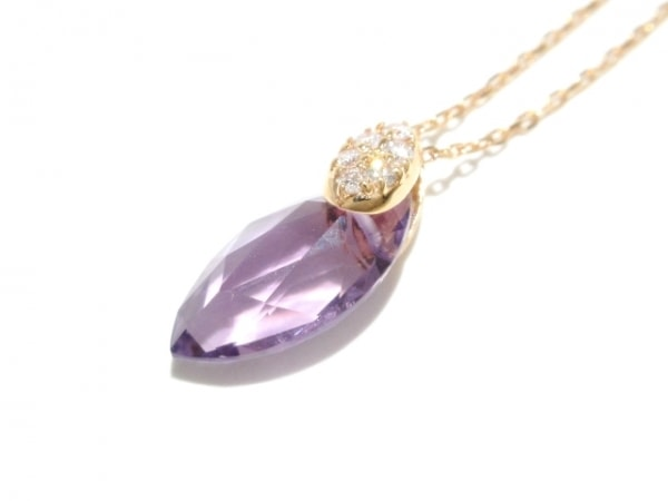 ヴェレッタオッターヴァ ネックレス美品  K18PG×ダイヤモンド×アメジスト