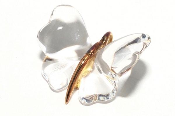 LALIQUE(ラリック) ペンダントトップ ガラス×金属素材 クリア×ゴールド 蝶