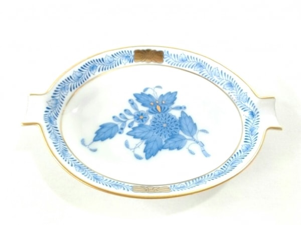 Herend(ヘレンド) 小物新品同様  白×ネイビー×ゴールド 灰皿 陶器