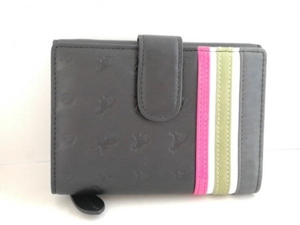 エッセンスオブポイズン 3つ折り財布 黒×カーキ×マルチ 型押し加工
