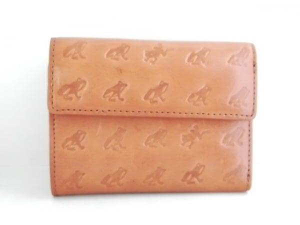エッセンスオブポイズン 3つ折り財布美品  ブラウン 型押し加工 レザー