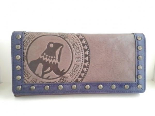 エッセンスオブポイズン 長財布 グレーベージュ×パープル 型押し加工/スタッズ