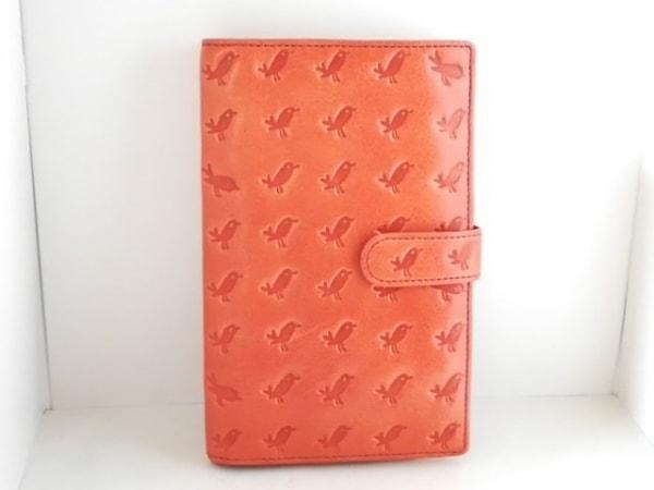 エッセンスオブポイズン カードケース オレンジ 型押し加工 レザー