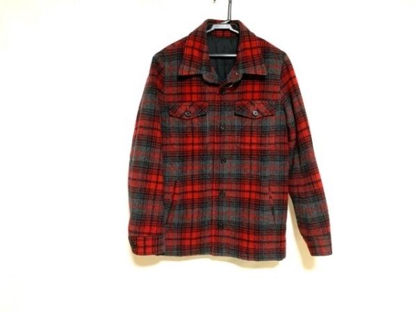 リチウムオム ジャケット サイズ46 XL メンズ美品  レッド×ダークグレー×黒