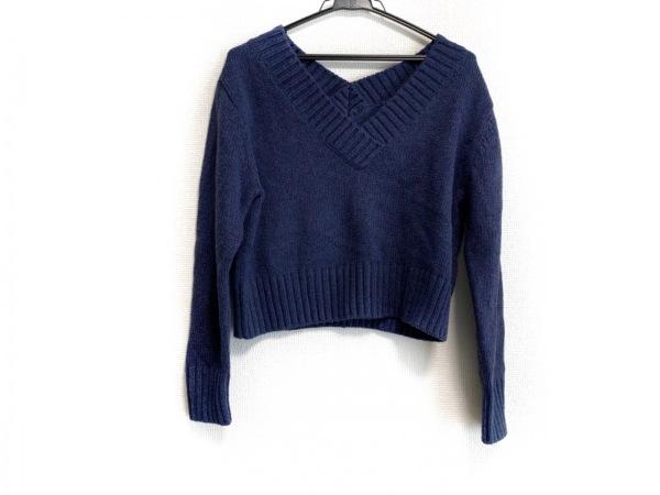 アナイ 長袖セーター サイズ38 M レディース美品  ネイビー×ピンク ショート丈