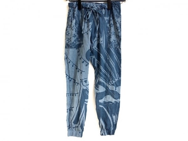 ホォアナ デ アルコ パンツ サイズ1 S レディース ライトブルー×ブルー スター/ラメ