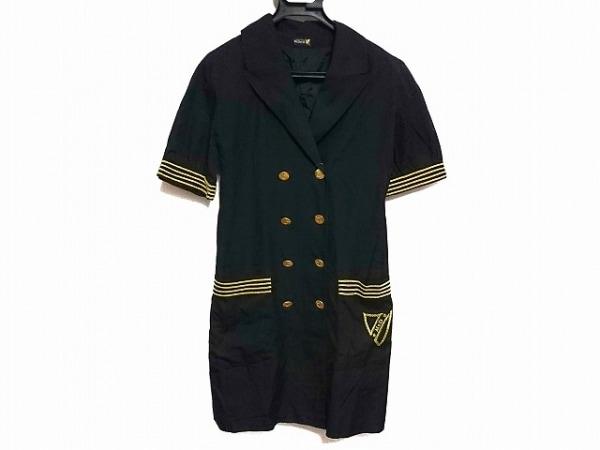 マックデイビッド ワンピース サイズ38 M レディース 黒×ゴールド 刺繍/肩パッド