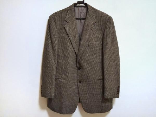アクアスキュータム ジャケット メンズ美品  黒×ダークブラウン×マルチ ネーム刺繍